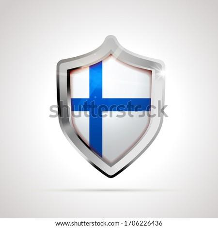 Финляндия флаг щит белый изолированный Сток-фото © evgeny89