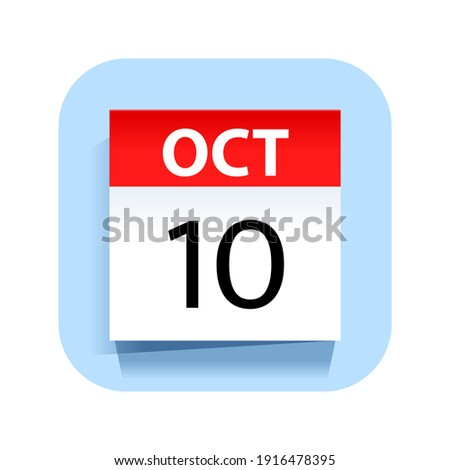 Simple black calendar icon with 10 october date isolated on white Stock photo © evgeny89