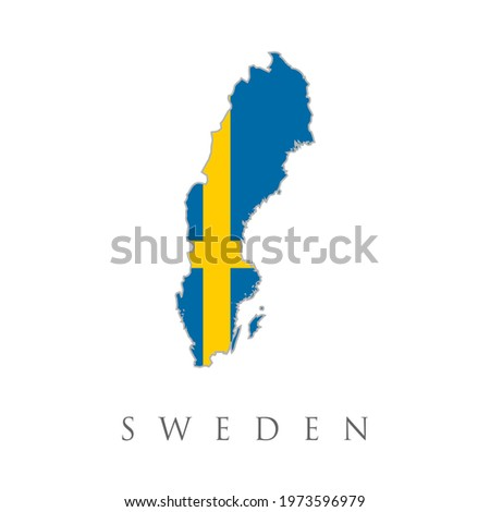 Sweden country silhouette with flag on background, isolated on white Stock photo © evgeny89