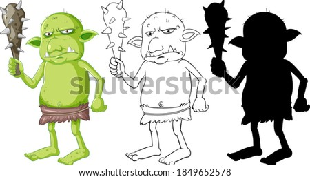 Dark green goblin or troll holding hunting tool in cartoon chara Stock photo © bluering