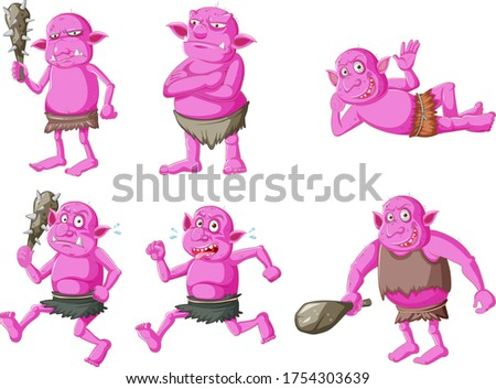 Set of pink goblin or troll in different poses in cartoon charac Stock photo © bluering