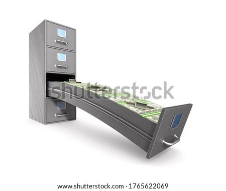 Money into filing cabinet on white background. Isolated 3D illus Stock photo © ISerg