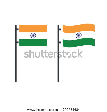 Indian tricolor flag stable and waving on flag pole. Stock Vector illustration isolated on white bac Stock photo © kyryloff