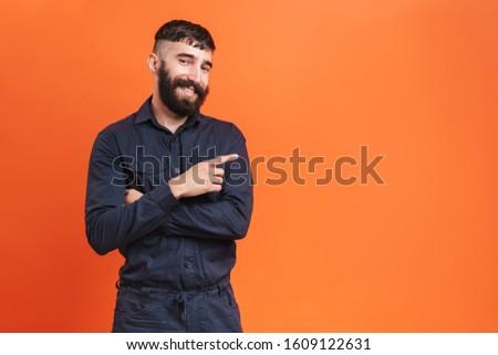 Afbeelding brunette man neus sieraden Stockfoto © deandrobot