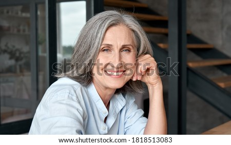 Starych starszy portret siwe włosy domu uśmiech Zdjęcia stock © AndreyPopov