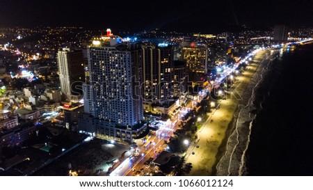 Aerial view of Nha Trang at night, Vietnam Stock photo © galitskaya