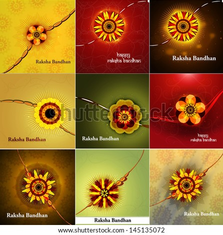 Beautiful Hindu rakhi collection colorful presentation vector Stock photo © bharat