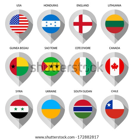 マーカー · 紙 · フラグ · 地図 · セット · 世界 - ストックフォト © Ecelop