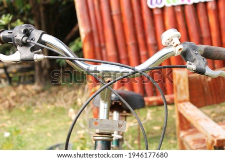 decorate white metal bicycle in garden stock photo © tungphoto