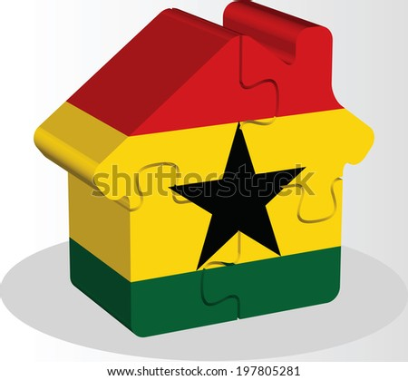 house home icon with ghanaian flag in puzzle isolated on white b stock photo © istanbul2009
