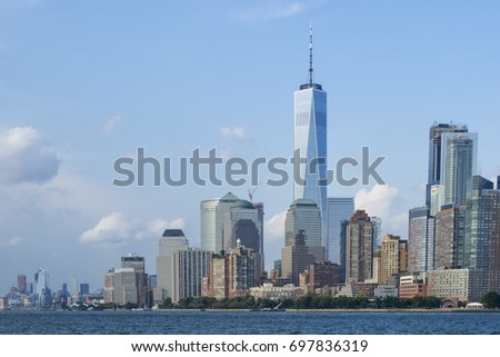 Nieuwe wereld handel centrum glazen gebouw wolkenkrabber Stockfoto © billperry