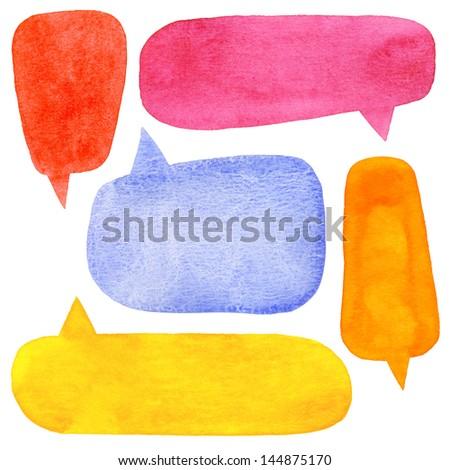 Oranje aquarel tekstballon geschilderd water hand Stockfoto © mcherevan