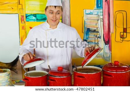 Cuoco uniforme rosso pubblico catering Foto d'archivio © Paha_L