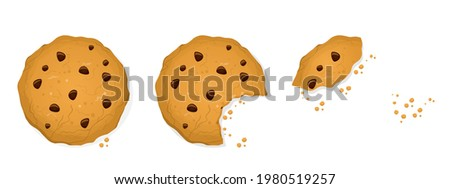 bitten chip biscuit cookie vector cracker in different shapes stock photo © pikepicture