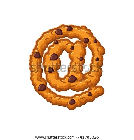 e-mail sign letter cookies. Cookie font. Oatmeal biscuit alphabe Stock photo © popaukropa