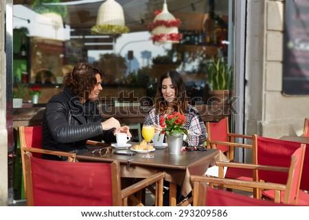 Mosolyog pár friss desszert ül kávéház Stock fotó © wavebreak_media
