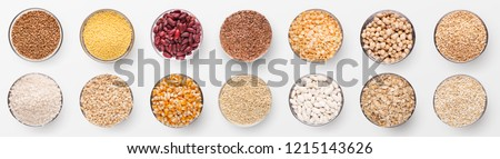 Red lentils cereal in plate isolated. Healthy food for breakfast Stock photo © MaryValery