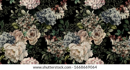 Flowers seamless pattern. Red roses with green stems. Floral Ret Stock photo © popaukropa