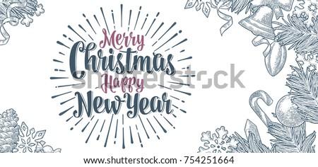 Gegraveerd vrolijk christmas gelukkig nieuwjaar typografisch ontwerp Stockfoto © articular