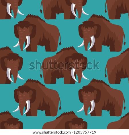 Mammoth pattern seamless. Prehistoric elephant background. Giant Stock photo © popaukropa