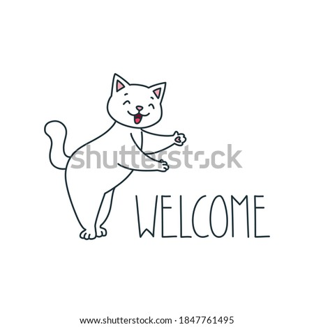Cute kitty welcomes waving isolated on white background. Vector cartoon close-up illustration. Stock photo © Lady-Luck