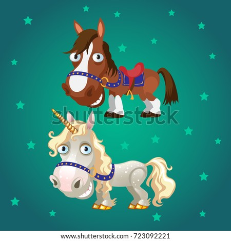 Cute poster with smiling racehorse and a unicorn with gold hooves. Vector cartoon close-up illustrat Stock photo © Lady-Luck
