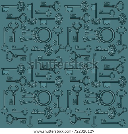 sketch with ornament vintage forged keys isolated on gray background vector cartoon close up illust stock photo © lady-luck