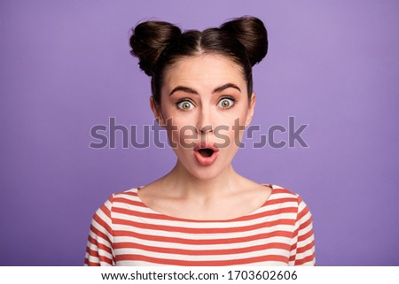 Photo of excited woman expressing surprise with open mouth, whil Stock photo © deandrobot