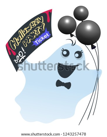 Funny ghost with black balloons holds ticket for halloween party Stock photo © orensila
