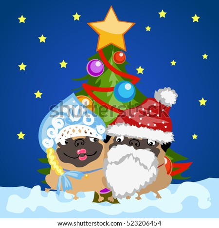 Two pug dogs in Christmas costumes Santa Claus and snow maiden on the background of the Christmas tr Stock photo © Lady-Luck