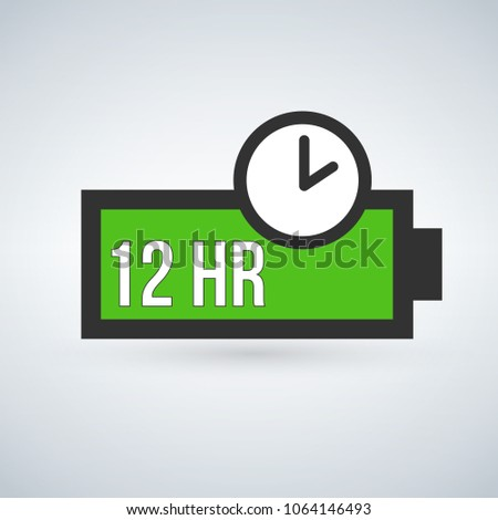 Green Battery life time Icon Flat Style Isolated Vector Illustration. Stock photo © kyryloff