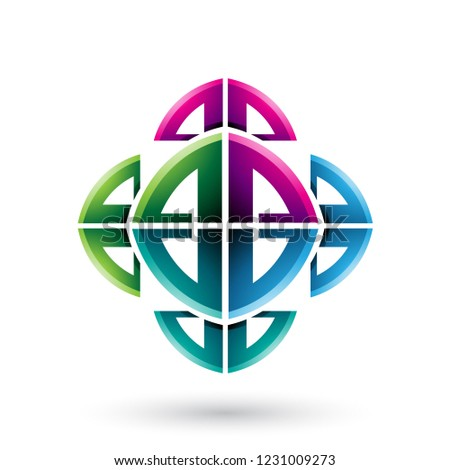 Green and Magenta Abstract Ornamental Bow Shapes Vector Illustra Stock photo © cidepix