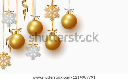 christmas festival greeting with xmas ball and golden particles Stock photo © SArts