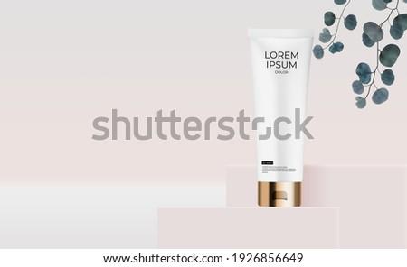 Cosmetische fles banner vector elegante vrouw Stockfoto © pikepicture