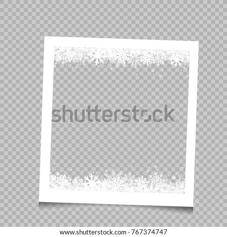 Stock photo: Christmas photo frame with shadow. Blank photo frame with white border. Template photo frame with sn