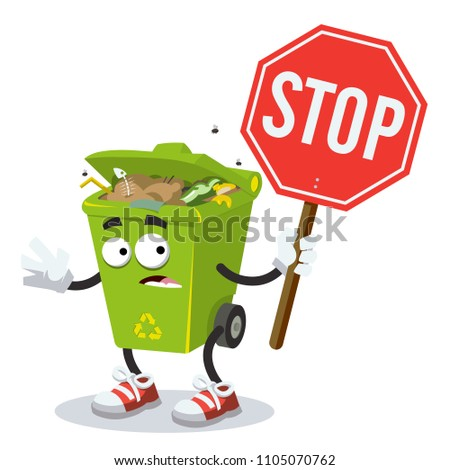 cute blue recycle bin cartoon mascot character holding a recycle sign stock photo © hittoon