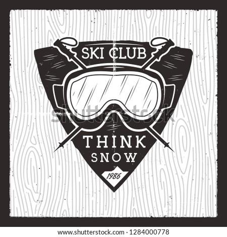 滑雪 俱樂部 徽章 冬天 冒險 卡 商業照片 © JeksonGraphics