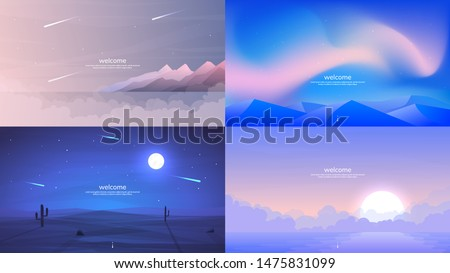 Four background scenes with lake and hills Stock photo © colematt
