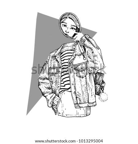 gizemli · kız · hayalet · ayna · kot · ceket - stok fotoğraf © bonnie_cocos