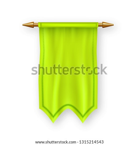 Yellow Pennat Flag Vector. Pennon Fabric Blank. Advertising Canvas Banner. Heraldic 3D Realistic Iso Stock photo © pikepicture