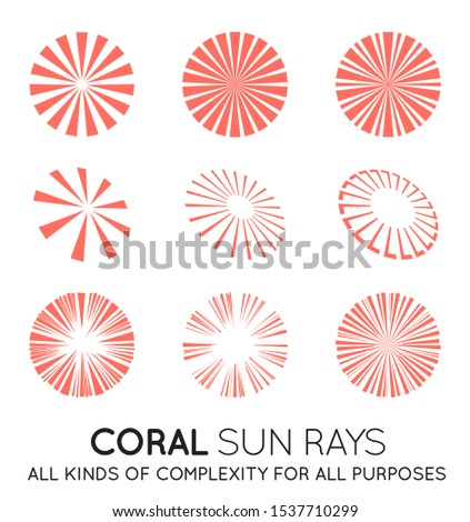 Abstract Living Coral Sun rays vector background. Summer sunny 4K design. Stock photo © kyryloff