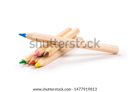 Bunch of different colored crayons set isolated on white background Stock photo © ukasz_hampel