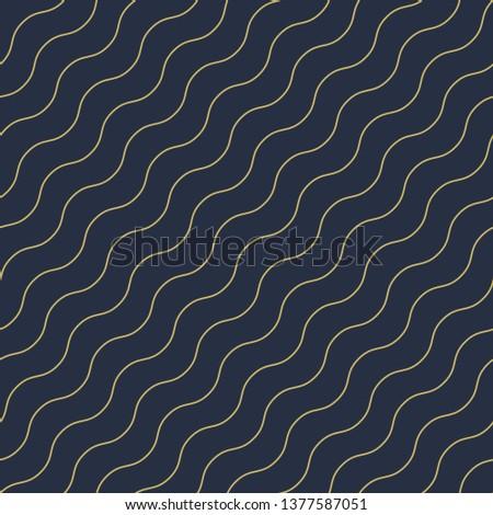 Vector geometric seamless diagonal wavy pattern - goldish striped rich texture. Stylish blue backgro Stock photo © ExpressVectors