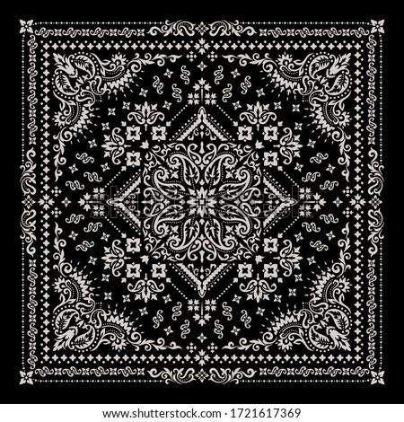 vector ornament paisley bandana print silk neck scarf or kerchief square pattern design style best stock photo © sanyal