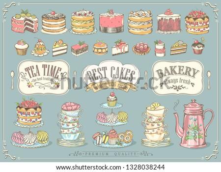 Donuts hand drawn vector doodles illustration. Sweets frame card design. Stock photo © balabolka