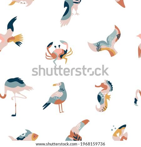 Czerwonak Krab mewa morza ptaków Zdjęcia stock © robuart