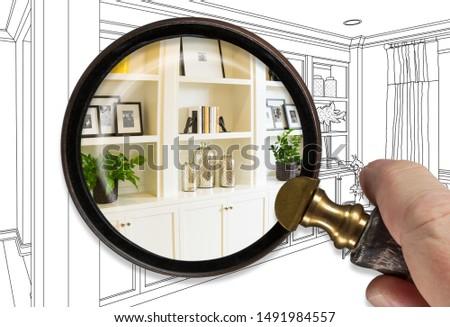 Hand vergrootglas afgewerkt ontwerp home Stockfoto © feverpitch