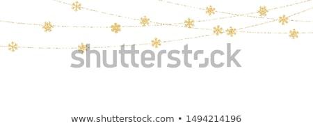 Weihnachten Neujahr golden Schneeflocke Dekoration Girlande Stock foto © olehsvetiukha