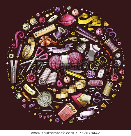 Set of Hand Made cartoon doodle objects, symbols and items Stock photo © balabolka