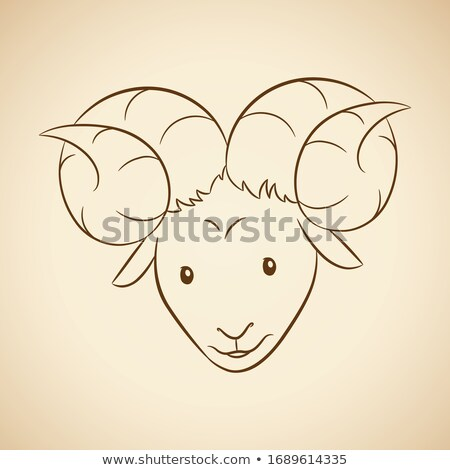 brown line art of aries zodiac sign on a beige background stock photo © cidepix